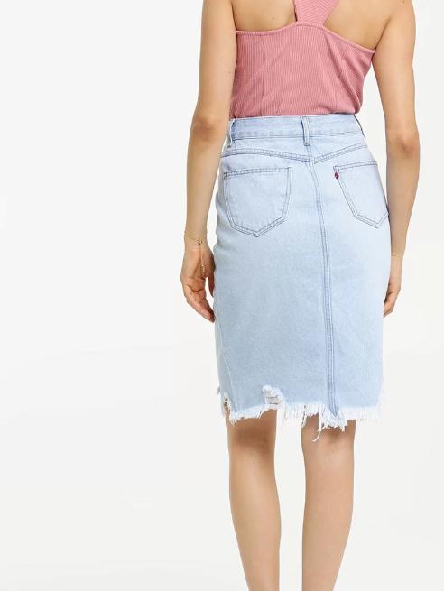 Saia Feminina Jeans Destroyed